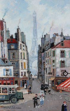 """La Tour Eiffel veille sur le vieux Paris.  Acrílico tablero Sobre.  13 """"x 8 ½"""""""