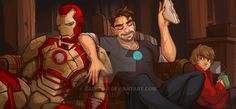 Because a tuna sandwich is an essential snack for Tony Stark before he saves the world yet again. Iron Man III © Marvel Art © ramida-r Iron Man Movie, Iron Man 3, Marvel Fan Art, Marvel Heroes, Marvel Funny, Marvel Movies, Superfamily Avengers, Steve And Tony, Avengers Comics
