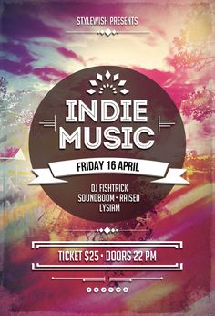 Buy Indie Music Flyer by styleWish on GraphicRiver. Indie Music Flyer Template This flyer template is designed to announce a wide range of alternative music events: an . Graphic Design Posters, Graphic Design Typography, Typography Logo, Craft Beer Fest, Christian Music Artists, Music Flyer, Music Artwork, Flyer Design Templates, Party Poster