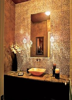 Tiled wall + hanging pendant lights = Moroccan powder room perfection.. I want to decorate my bathroom like this
