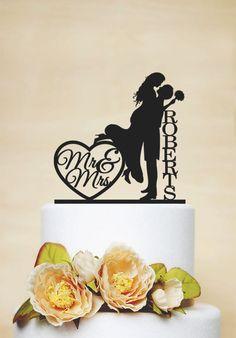 Wedding Cake Topper, Custom Wedding Cake Topper, dernier Topper, décoration acrylique, Mr et Mme cake topper-C047