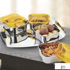 JVL Pushp Designer Bowl Set, 4-Pieces With Tray Buy Kitchen, Kitchen Items, Kitchen Utensils, Kitchen Appliances, Kitchen Storage Containers, Kitchenware, Tableware, Storage Sets, Bowl Designs