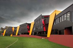 Punt Road Oval Redevelopment gives off a playful feeling, situated around the Punt Road Oval, where the Tigers play for the Richmond Football Club. Architecture Résidentielle, Education Architecture, Futuristic Architecture, Contemporary Architecture, Amazing Architecture, Building Facade, Building Exterior, Facade Design, Exterior Design