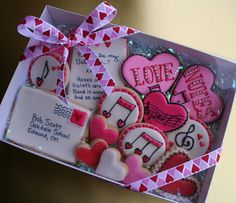 Valentines letter and musical notes cookie packages to give to friends and family