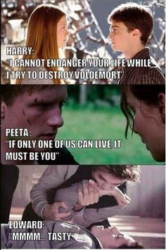 Harry Potter and Hunger games. They define true love. Pinning for Harry Potter but Hunger games is also good! Twilight Harry Potter, Twilight Jokes, Harry Potter Jokes, Harry Potter Fandom, Twilight Saga, Twilight Photos, Haha, Book Memes, Book Fandoms