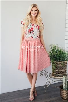 Peachy Pink Polka Dot Modest Skirt for Church, Church Dresses, dresses for church, modest bridesmaids dresses, trendy modest dresses, modest womens clothing, affordable boutique dresses, cute modest dresses, mikarose, modest bridesmaids dresses