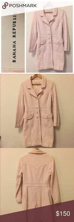 Banana Republic Vintage • Pink Collared Coat Vintage outerwear from banana republic. Size Medium. Has a collar, buttons and two pockets.  Textured on the outside, lined on the inside. Such a gorgeous coat! Banana Republic Jackets & Coats