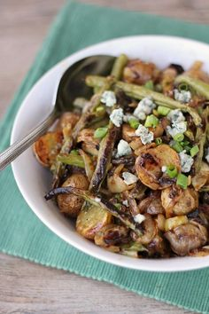 Roasted Potatoes and Green Beans with Caramelized Onions & Blue Cheese