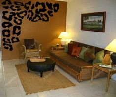 Love the leopard print on the walllepord Print Bedroom Ideas   leopard bed design Room decor design  . Animal Print Living Room. Home Design Ideas