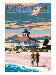 Boca Grande, Florida - Lighthouse Art Print by Lantern Press at Art.com