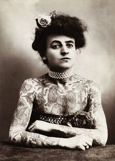 Maud Stevens Wagner (born Maud Stevens February 1877 in Lyons County, Kansas) was the first well known woman tattoo artist in the United States. Photo c. 1907