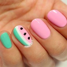 Best Summer Nail Designs for Summer 2017 watermelon nails
