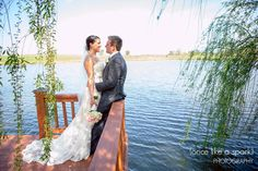 gorgeous view, happy couple, beautiful pair, bride and groom, waterside, spring wedding, true love, romance, wedding photographer :: Lacey + Hunter's Wedding at Oakhurst Farm in West Point, GA :: with Tyler