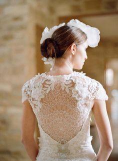 Elegant backside of wedding dress.