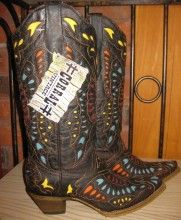 Corral Boots Yellow Red Turqoise Butterfly