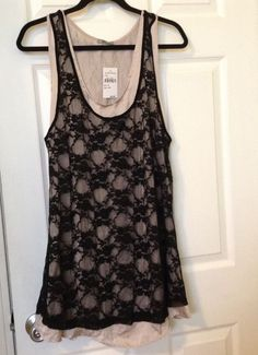 Lagenlook Layered Lace & Solid Double Tunic Tank Top NORDSROM SZ M NWT $48 #NKWestKei #Tunic #Any
