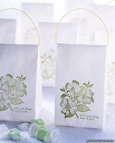 Simple sacks make perfect favor packages when given a handle and personalized with a stamp.