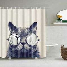 Cute Cat Printed Shower Curtain Cartoon Animal Polyester Fabric Bath Curtain for Bathroom Curtain Decoration Shower Curtains Plastic Curtains, Hanging Curtains, Bathroom Curtains, Fabric Shower Curtains, Cat Shower Curtain, Decorative Hooks, Mold And Mildew, Online Home Decor Stores, Pattern Making