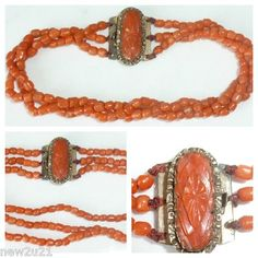 ANTIQUE 3 ROW CORAL BRACELET MATCHING CARVED CORAL CLASP (E-bay)