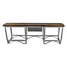 unusual oversized all-welded joint heavy gauge angled steel boilerworks machine shop work table with centrally located single drawer and oak wood tabletop