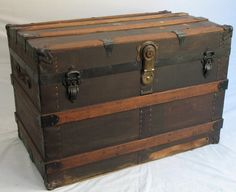 1900s Antique Steamer Trunk Large Turn-of-the-century Canvas Wrapped Solid Wood