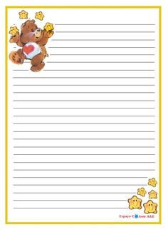 Printable Lined Paper, Free Printable Stationery, Templates Printable Free, Printables, Care Bear Tattoos, Teddy Bear Drawing, Care Bear Party, Snail Mail Pen Pals, Free Notebook