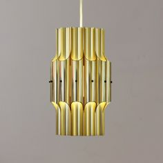 Bent Karlby; Brass-Anodized Aluminum Ceiling Light for Lyfa, 1960s.