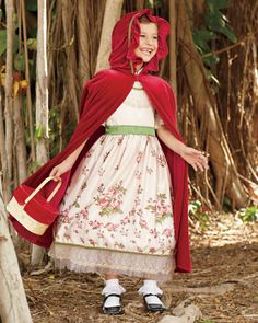 vintage red riding hood girls costume