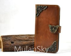Leather Wallet Phone Case,iPhone 4/4s/5/5s/5c/6/6Plus Case,Samsung Galaxy S3/S4/S5 Case,Note 2/3 Case,Copper Butterfly and Lace by MulanSky on Etsy