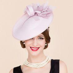 Elegant Silk Flower Bridal Fascinator Headband Formal Wedding Tea Party  Pink Cocktails Hat - PINK Bridal 9ddbb34d2ab0