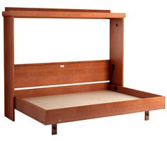 Mission Horizontal Murphy Bed in Oak - Cherry Finish.  Shown with Bed Open