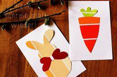 Easy easter card DIY. Einfaches Osterkarten DIY aus Baumarktfarbkarten von www.herzanhirn.de