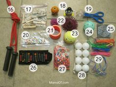 A mom occupational therapist reveals 50 items in her box to help children.