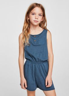 May 2018 - Mango Cotton Short Jumpsuit - Girls Cute Outfits For School, Kids Outfits, Cool Outfits, Jumpsuits For Girls, Girls Rompers, Short Fille, Jumpsuit For Kids, Kids Usa, Cute Rompers