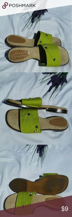 LizFlex by Liz Claiborne Refreshing Lime Canvas Green Slip-On Sandals Shoes With a Half an Inch Heel. Great condition except label damage. Please look at pics. Liz Claiborne Shoes Sandals