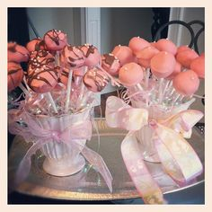 Cake Balls for a baby shower! (Girl) Or get blue melting candy for a boy!