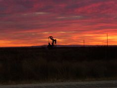 Pumpjack at sunset near Artesia, New Mexico