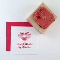 Cross Stitch Heart Hand Made By Personalized Rubber Stamp