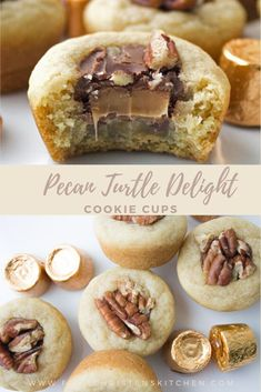 With a soft and tender cookie filled with candy all in a perfectly bite-sized cup, these Pecan Turtle Delight Cookie Cups are practically irresistible. #pecanturtles #cookies #cookiecups #christmascookies