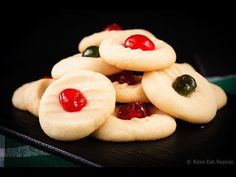 """These light and sweet whipped shortbread cookies, with a cherry on top, are so quick and easy to make. Plus a quick how-to video! These cookies are the first ones my family make every Christmas. Whipped Shortbread Cookies, Buttery Cookies, Shortbread Recipes, Swig Cookies, Baking Cookies, Bar Cookies, Oatmeal Cookies, Xmas Food, Christmas Cooking"