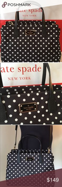FLASH SALE KATE SPADE NEW SHOULDER BAG 100% AUTH KATE SPADE NEW WITH TAGS NEVER USED HANDBAG/SHOULDER BAG/ CROSSBODY BAG 100% AUTHENTIC. STUNNING AND ALWAYS STYLISH BAG. PERFECT FOR ANY OCCASION . LOTS OF ROOM FOR ALL OF YOUR ITEMS. JUST A AMAZING BAG. THIS BAG MEASURES 11 INCHES WIDE BY 8 INCHES TALL AND 5 INCHES DEEP. THE HANDLES HAVE A 5 INCH DROP AND ALSO HAS A LONG ADJUSTABLE AND REMOVABLE SHOULDER STRAP OR CROSSBODY STRAP. FINAL PRICE! FINAL PRICE kate spade Bags Shoulder Bags