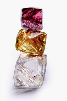 "Beautiful, flawless diamonds in the rough from the Argyle Mine in Australia. Photo ""Copyright © 2014 Rio Tinto.""."
