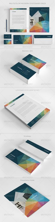 Multicolor Modern Stationery Pack - Stationery Print Templates