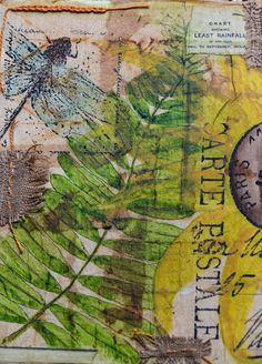 Patina Moon: Watercolor on Tea Bags ✭✭Watercolor on tea bags ~ Tea bags were torn open glued to watercolor paper. Paper had been stamped beforehand with text, then designs were sketched painted over the tea bags along with the dragonfly stamp. . . . . ღTrish W ~ www.pinterest.com... . . . . #art #journal