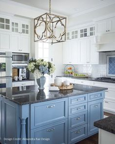 Blue Cabinets With Black Countertops - Design photos, ideas and inspiration. Amazing gallery of interior design and decorating ideas of Blue Cabinets With Black Countertops in pools, laundry/mudrooms, bathrooms, kitchens by elite interior designers. Blue Kitchen Island, Blue Kitchen Cabinets, Kitchen Redo, Kitchen Dining, Upper Cabinets, Wall Cabinets, Blue Kitchen Ideas, White Cupboards, Glass Cabinets