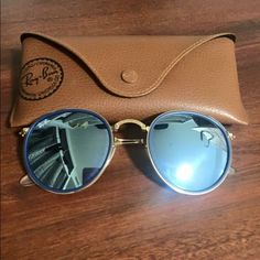 Ray Bans Flash Lenses Round Folding. Mirror blue lense. Ray-Ban Accessories Sunglasses