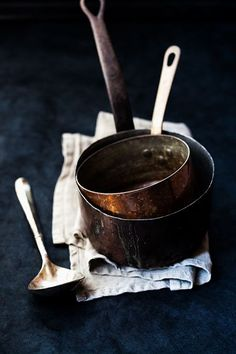 """Copper pans, old vintage, photography, beautiful styling props. [""""Repinned by Keva xo""""]"""