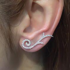 Sterling Silver Ear Crawler Earrings, White Tribal Ear Cuff Earrings,, Minimalist Ear Climber , Ear Pins, Ear Cuffs and Ear Wraps, Ear Sweep by TrendSilver on Etsy