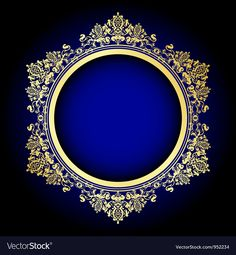 Gold and blue frame Royalty Free Vector Image - VectorStock in 2019 Wedding Photo Background, Banner Background Images, Studio Background Images, Invitation Background, Background Design Vector, Frame Background, Molduras Vintage, Bg Design, Frame Clipart