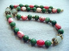 Green Necklace  Green African Jade Pink by BeadJewelryByAnita,   natural stone jewelry, Pretty for Holiday Christmas necklace
